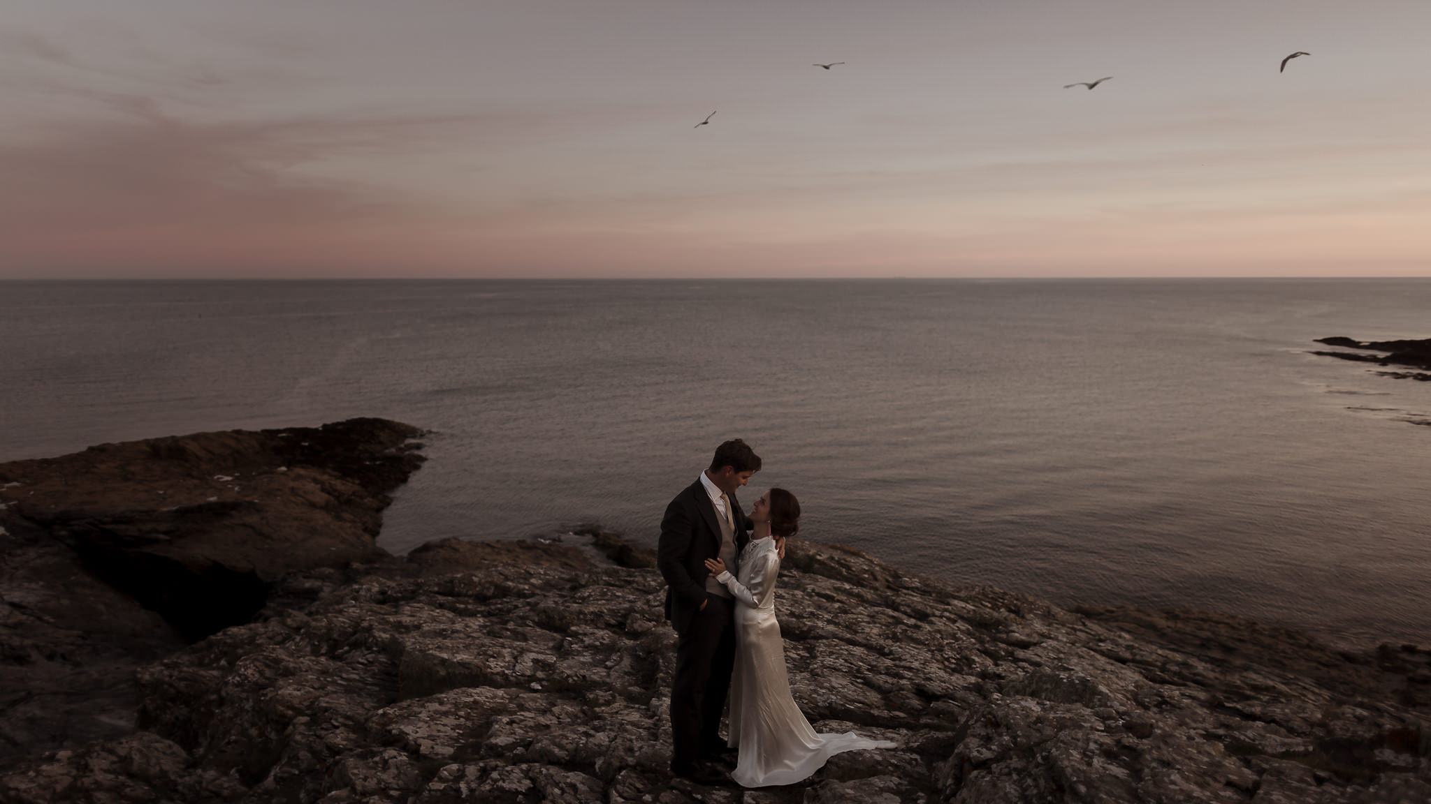 A sunset couple portrait in Cornwall