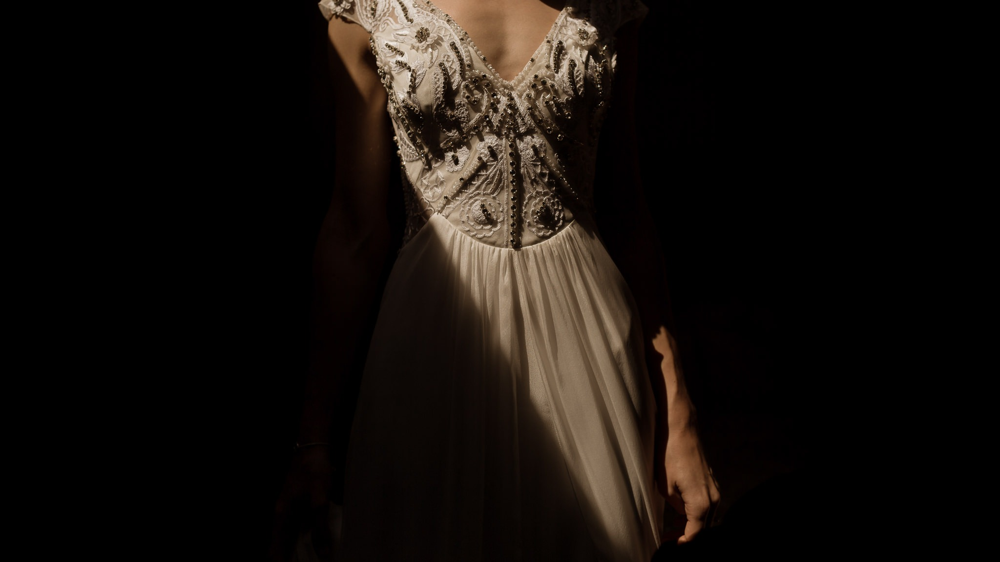 A photo of a bride in the light at the Yorkshire Wedding Barn, Richmond